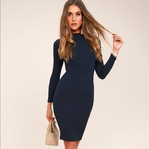 Navy Blue Long Sleeve Bodycon Midi Dress
